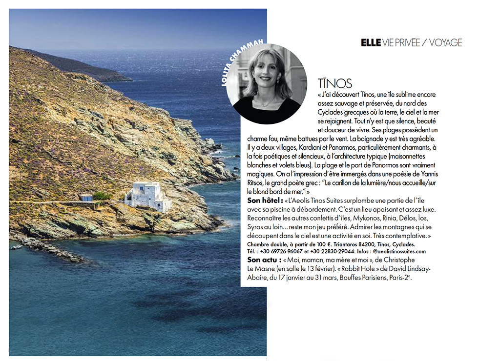 magazine elle about tinos by lolita chammah